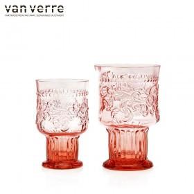 Barvni kozarec goblet Fleur de Lys 300ml roza